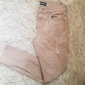 Express Tan Ankle Legging Mid Rise Jeans
